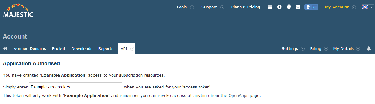 Unique Majestic OpenApps access token