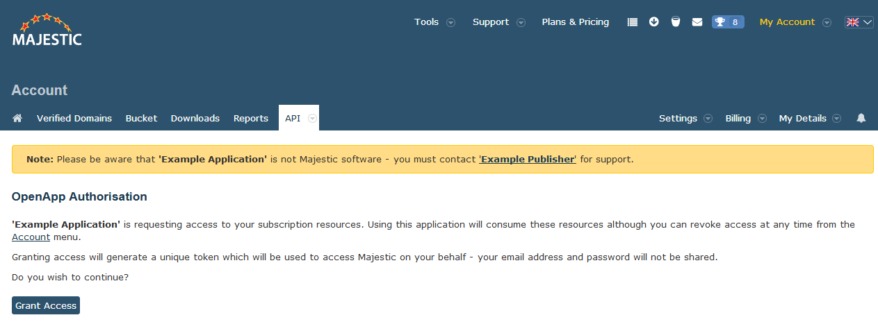 Majestic OpenApps authorisation