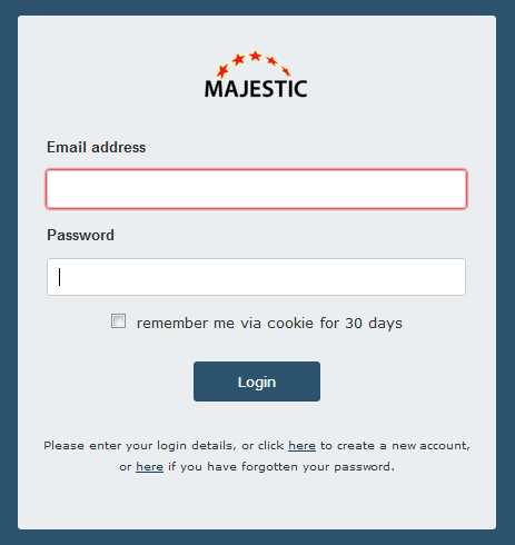 Majestic log in page